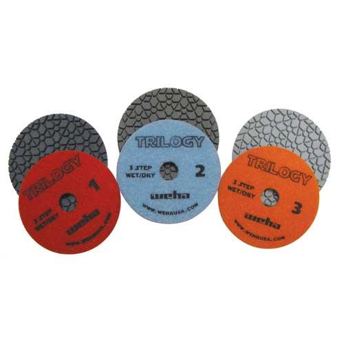 "Weha Trilogy 3-Step Dry Diamond Polishing Pads 4"""